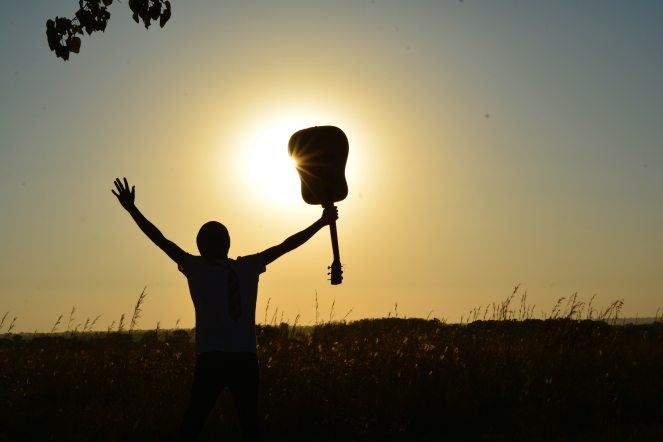 silhouette-of-man-holding-guitar-on-plant-fields-at-daytime-89909